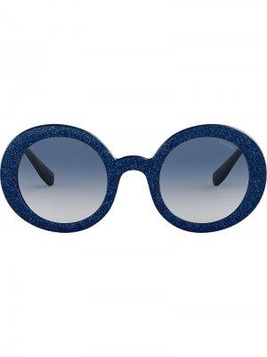 Солнцезащитные очки Divisa Glitter в круглой оправе Miu Eyewear. Цвет: синий
