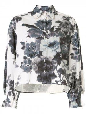 Блузка с цветочным принтом и объемными рукавами Carolina Herrera. Цвет: белый