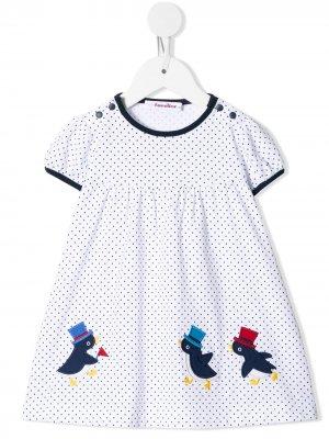 Платье в горох Familiar. Цвет: белый
