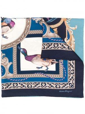 Платок Heritage с принтом Salvatore Ferragamo. Цвет: синий