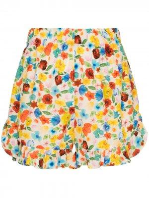Пижамные шорты с цветочным принтом GANNI. Цвет: белый