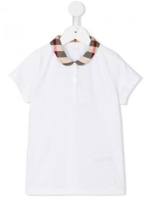 Рубашка-поло с воротником в клетку Burberry Kids. Цвет: белый