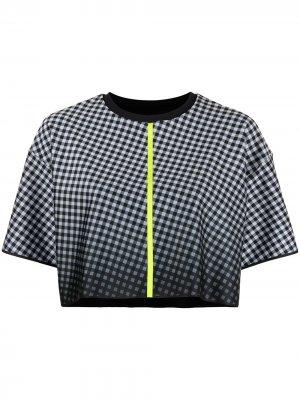 Укороченная футболка с геометричным принтом Ultracor. Цвет: черный