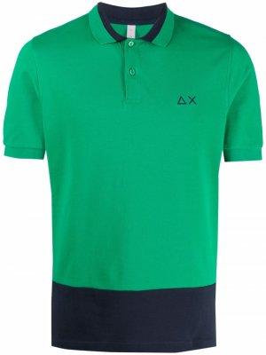 Рубашка поло в стиле колор-блок с логотипом Sun 68. Цвет: зеленый
