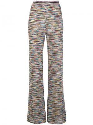 Расклешенные трикотажные брюки Missoni. Цвет: зеленый