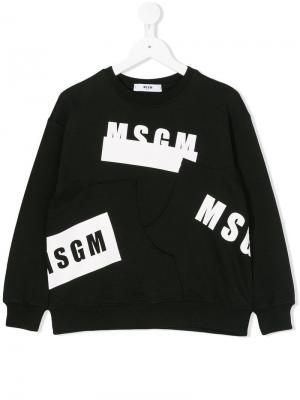 Свитер с асимметричным логотипом Msgm Kids. Цвет: черный