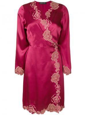 Халат с кружевной отделкой Carine Gilson. Цвет: розовый и фиолетовый