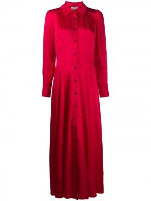 Атласное платье-рубашка Forte. Цвет: розовый