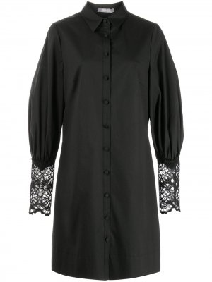 Платье-рубашка с кружевными манжетами Lela Rose. Цвет: черный