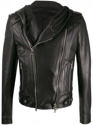 Кожаная куртка с капюшоном Balmain. Цвет: черный