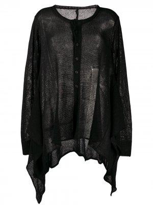 Каскадный кардиган Yohji Yamamoto. Цвет: черный