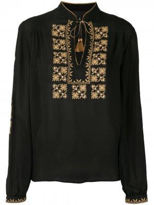 Блузка с вышивкой Nili Lotan. Цвет: черный