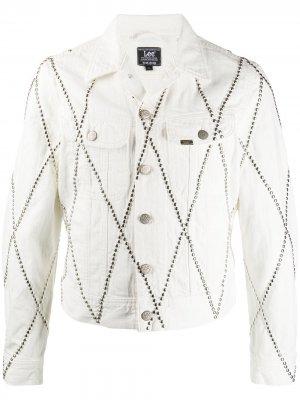 Джинсовая куртка с заклепками Stefan Cooke. Цвет: белый