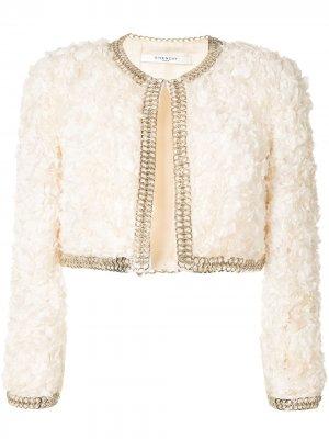 Укороченный жакет с оборками Givenchy Pre-Owned. Цвет: белый