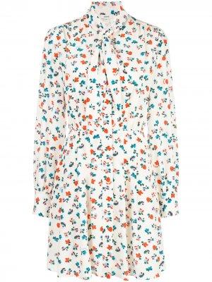 Платье-рубашка мини с цветочным принтом Jason Wu. Цвет: белый