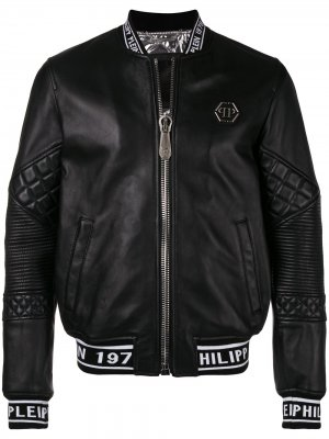 Logo printed leather jacket Philipp Plein. Цвет: черный