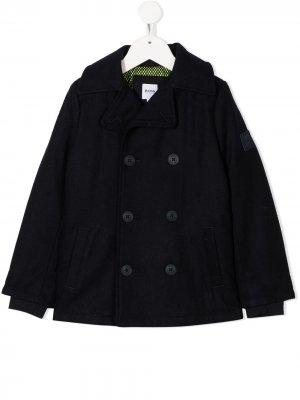 Двубортное пальто BOSS Kidswear. Цвет: синий