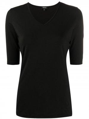Приталенная футболка с V-образным вырезом Aspesi. Цвет: черный