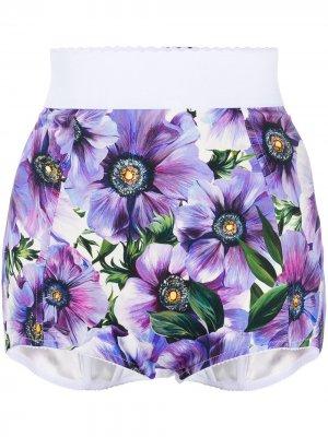 Трусы-шорты с цветочным принтом Dolce & Gabbana. Цвет: синий