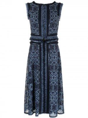 Платье Kubra с бахромой Tadashi Shoji. Цвет: синий
