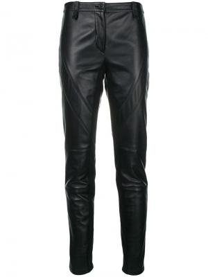Slim fit leather trousers Alberta Ferretti. Цвет: черный