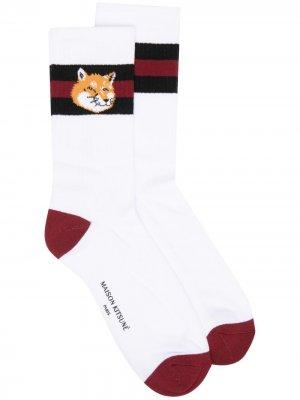 Полосатые носки Maison Kitsuné. Цвет: белый