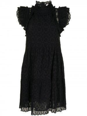 Расклешенное платье с английской вышивкой Sea. Цвет: черный