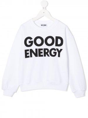 Свитер Good Energy Moschino Kids. Цвет: белый