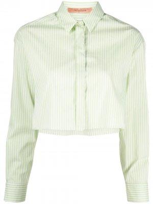 Укороченная рубашка Georgina в полоску THE ANDAMANE. Цвет: зеленый