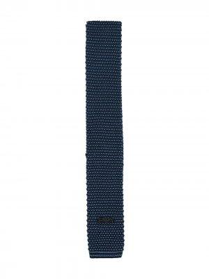 Вязаный галстук с логотипом Emporio Armani Kids. Цвет: синий