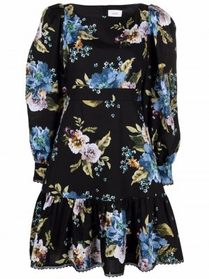 Платье с цветочным принтом Erdem. Цвет: черный