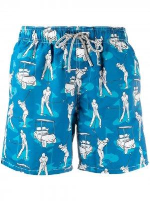 Плавки-шорты Gustavia с принтом Mc2 Saint Barth. Цвет: синий