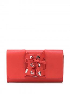 Клатч со шнуровкой Perrin Paris. Цвет: красный