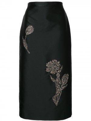 Декорированная юбка-карандаш Erdem. Цвет: черный
