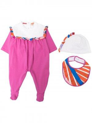 Комплект из пижамы, нагрудника и шапки Emilio Pucci Junior. Цвет: розовый