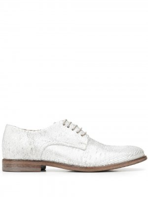 Туфли дерби с эффектом металлик MOMA. Цвет: серебристый