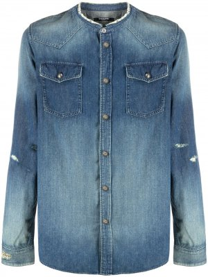 Джинсовая рубашка без воротника Balmain. Цвет: синий