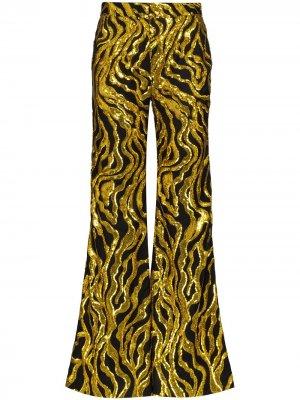 Расклешенные брюки с пайетками Halpern. Цвет: золотистый
