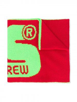 Шарф в стиле колор-блок с логотипом Gcds Kids. Цвет: красный