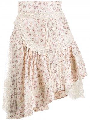 Юбка асимметричного кроя с цветочным принтом Zimmermann. Цвет: нейтральные цвета