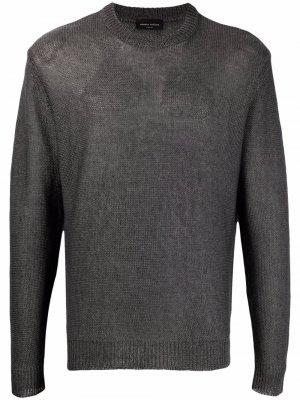 Полосатый джемпер с круглым вырезом Roberto Collina. Цвет: серый