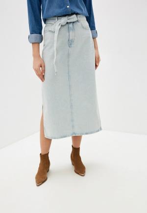 Юбка джинсовая Selected Femme. Цвет: голубой