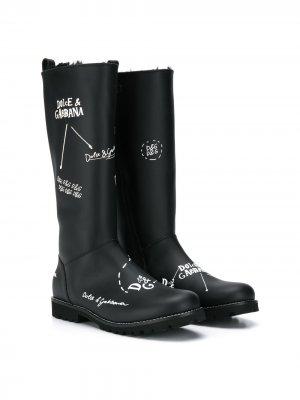 Резиновые сапоги с логотипом Dolce & Gabbana Kids. Цвет: черный