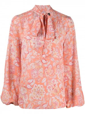 Блузка с цветочным принтом и завязками на воротнике Rixo. Цвет: розовый
