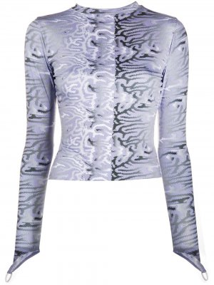 Топ с длинными рукавами и абстрактным принтом Maisie Wilen. Цвет: фиолетовый