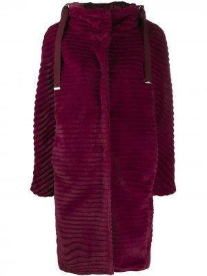 Однобортное пальто-пуховик Herno. Цвет: фиолетовый
