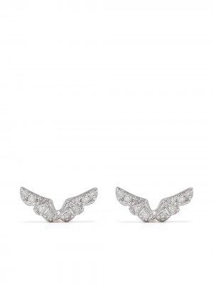 Серьги Angel Wing из белого золота с бриллиантами Djula. Цвет: серебристый