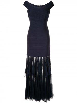 Платье с драпировками на подоле Hervé Léger. Цвет: синий