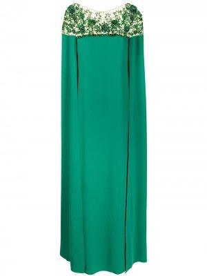 Платье-кейп с вышивкой Marchesa Notte. Цвет: зеленый