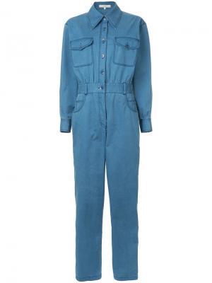 Саржевый джинсовый комбинезон с выцветшим эффектом Tibi. Цвет: синий